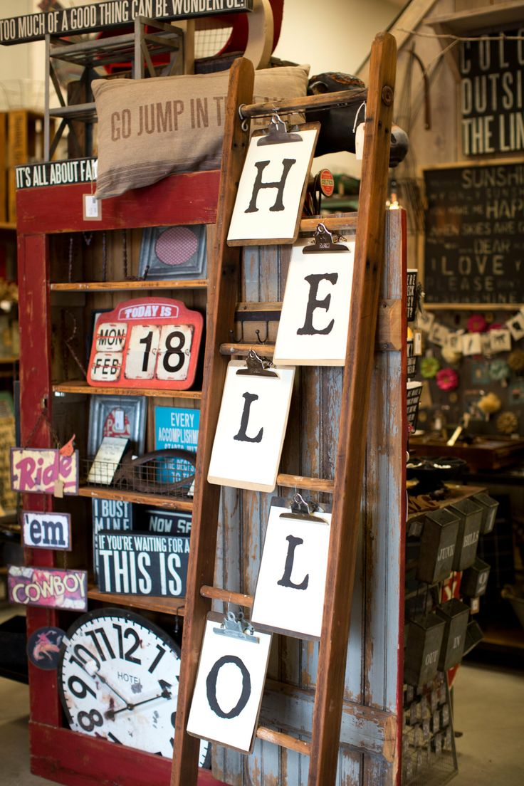 Funky junk display-- like the clipboards with letters