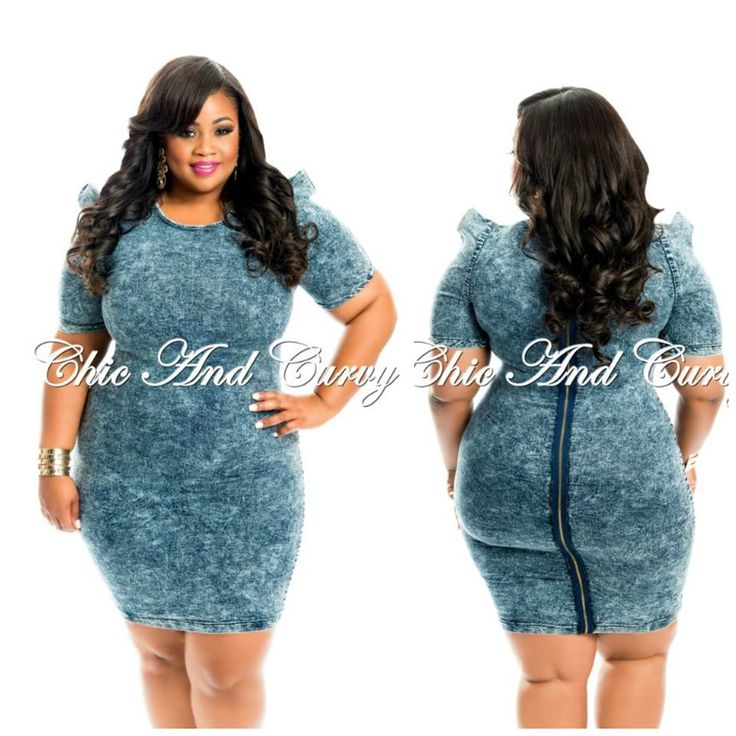 BodyCon Dress In Denim With Structured Shoulders & Zipper In Back  Low Stock Alert! Available at: http://www.chicandcurvy.com/bodycons/product/10406-new-plus-size-body-con-dress-in-grey-1x-2x-3x