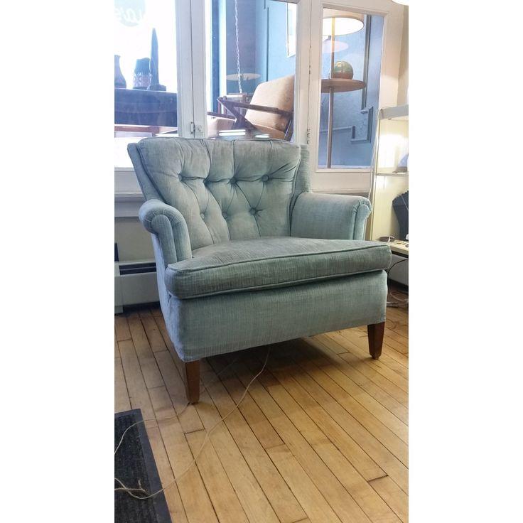 light blue velvet chair and ottoman
