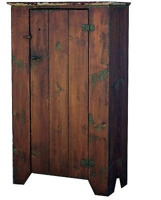 .EARLY AMERICAN PAINTED COUNTRY FURNITURE PRIMITIVE CHIMNEY JELLY CUPBOARD PINE