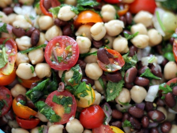 Middle Eastern Chickpea & Black Bean Salad | Recipe | Black bean ...