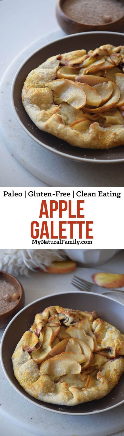 This Paleo apple galette recipe is simple, rustic and delicious. I love the way the apples turn out and the crust is so good. This is basically the healthiest and easiest apple recipe ever!