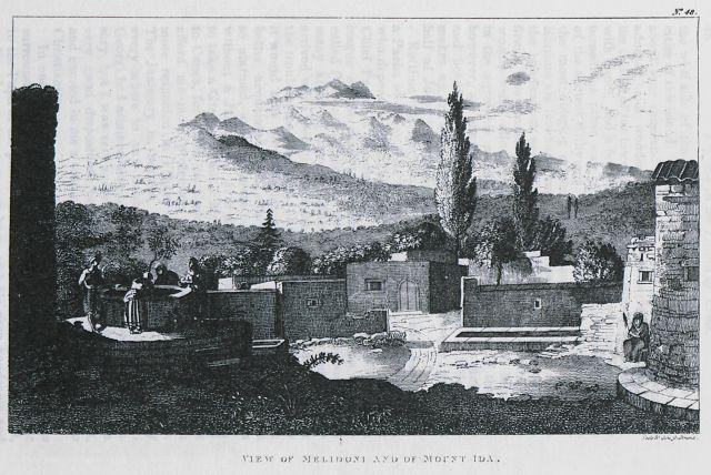 Το χωριό Μελιδόνι με το όρος Ίδη  Κρήτη 1823 .SIEBER, Franz Wilhelm - TRAVELLERS' VIEWS  15th -20th century