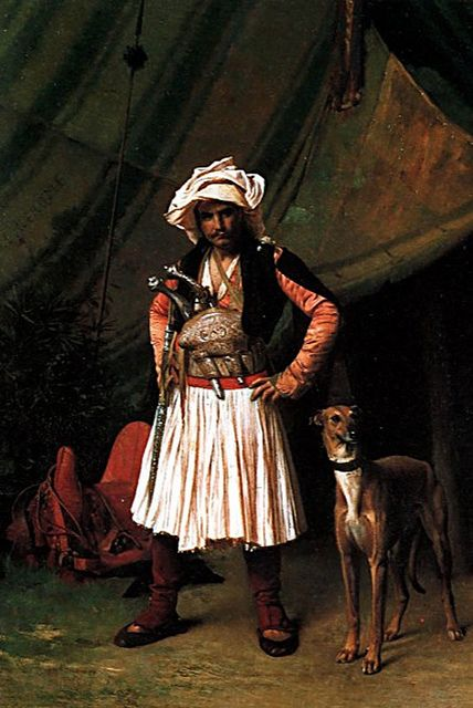 """""""Bashi Bazouk and his Dog"""". Painting by Jean-Léon Gérôme (1824-1904). Painted in 1865, in Egypt.  In fact, this 'başıbozuk' (mercenary, or irregular soldier of the Ottoman army) is originating from Epirus or Albania and can be recognized by his half-long skirt-like garment (called 'fustanella' in Greece).  These military were generally called 'Arnavut'/'Arnaut' (=Albanian) in the 19th century."""
