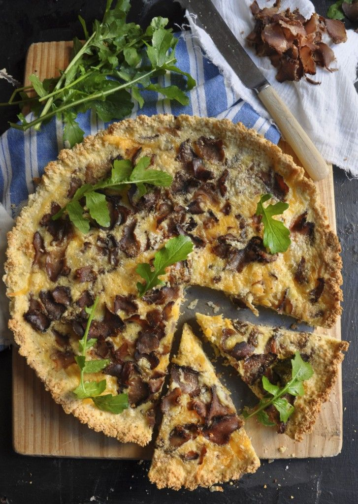 Quick and Easy Biltong Quiche with and Almond Crust - Yum! Make mini ones for your snack platter
