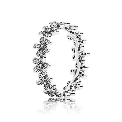 Delicate flowers, embellished with glistening stones, are linked together to resemble a daisy chain. This feminine sterling silver ring is great for stacking - wear it with other floral pieces to maximise the botanical effect. #PANDORA #PANDORAring