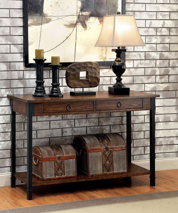 """Page collection transitional style medium weathered oak finish wood and metal frame console entry sofa table. Measures 48"""" x 17"""" x 30"""" H. Some assembly required."""
