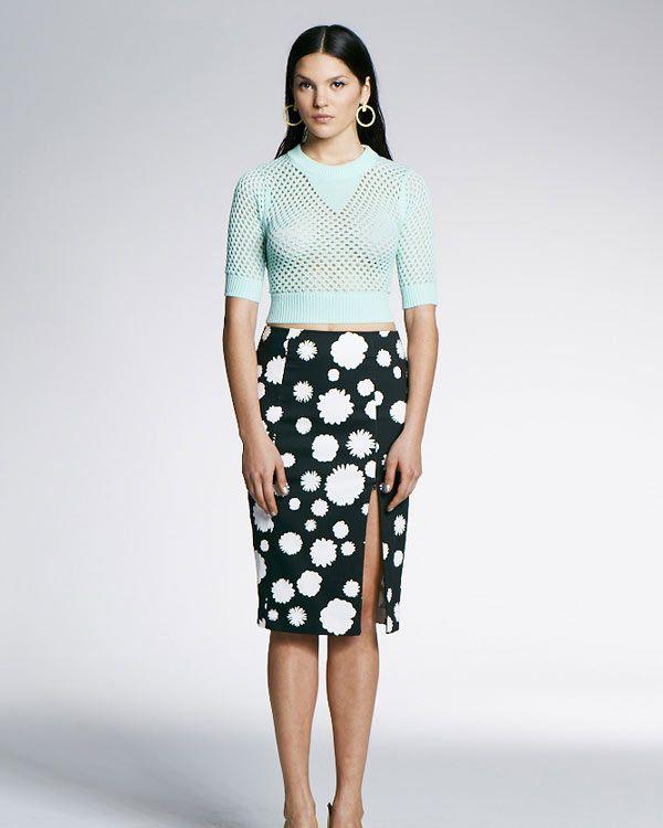 Minty Meets Munt Split Pencil Skirt - White Blossom - Skirts - Clothing - Birdmotel Online Store