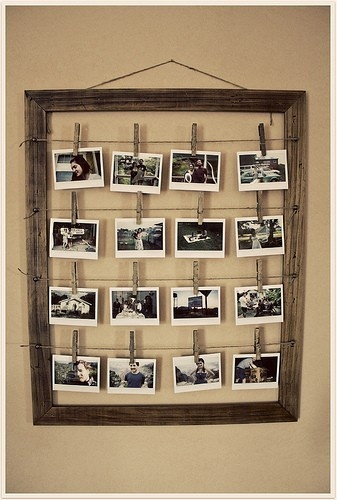 "I've used this idea for bridal showers - 3 frames, 1 for him growing up, 1 for her growing up, and 1 for ""them"" with pictures from when they met to current."