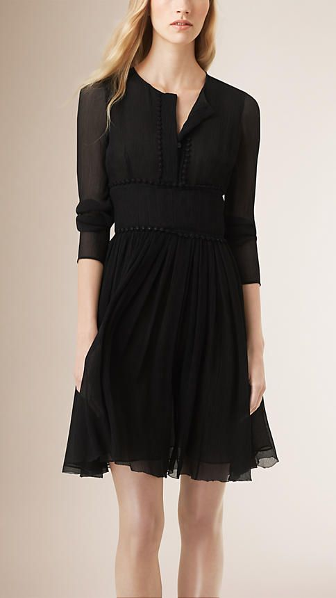 Black Crinkle-Finish Silk Dress - Image 1