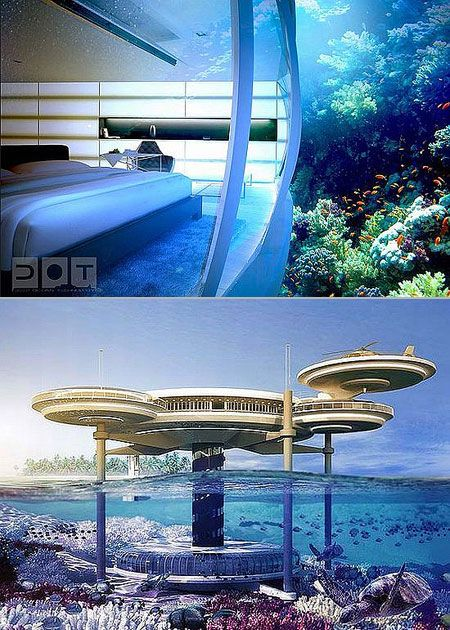underwater hotel with beautiful rooms.