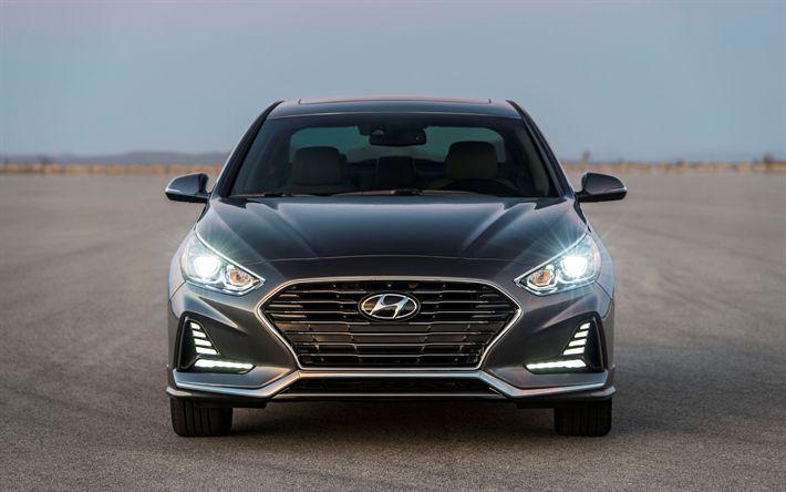 Download wallpapers Hyundai Sonata, 2018, 4k, front view, new gray Sonata, South Korean cars, Hyundai