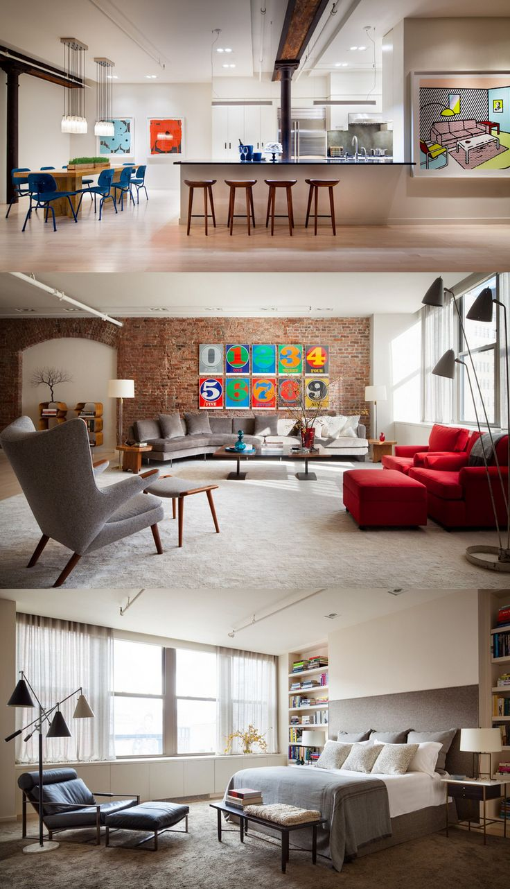 To outift their 2,800-sf Manhattan loft, Will Ferrell and his wife, auctioneer Viveca Paulin let me cull through their vast furniture collection to select classic pieces by Wegner, Baughmann, Frankl, Dunbar and other icons - A loft by Shawn Henderson Interior Design in New York, NY