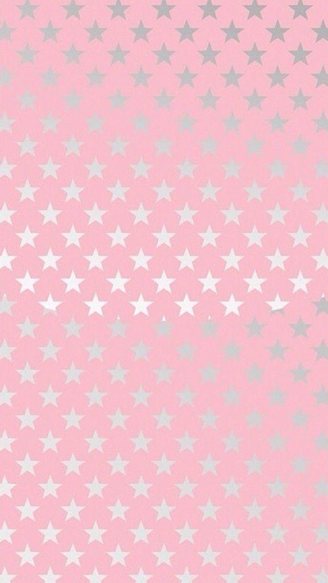 Pink silver stars iphone phone background lock screen wallpaper