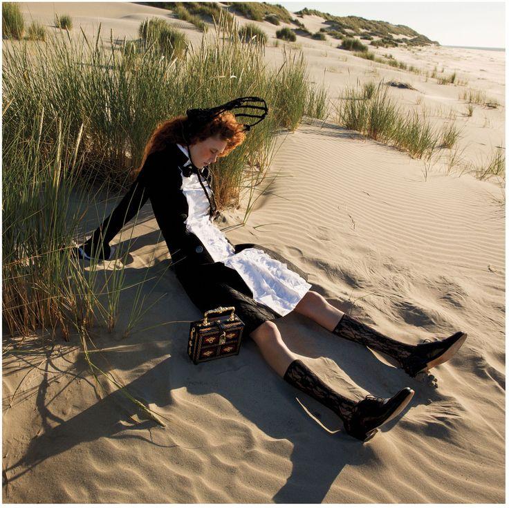 Mourning Glory: Natalie Westling by Inez van Lamsweerde & Vinoodh Matadin for W Magazine September 2015 - CHANEL Fall 2015, Dolce&Gabbana bag