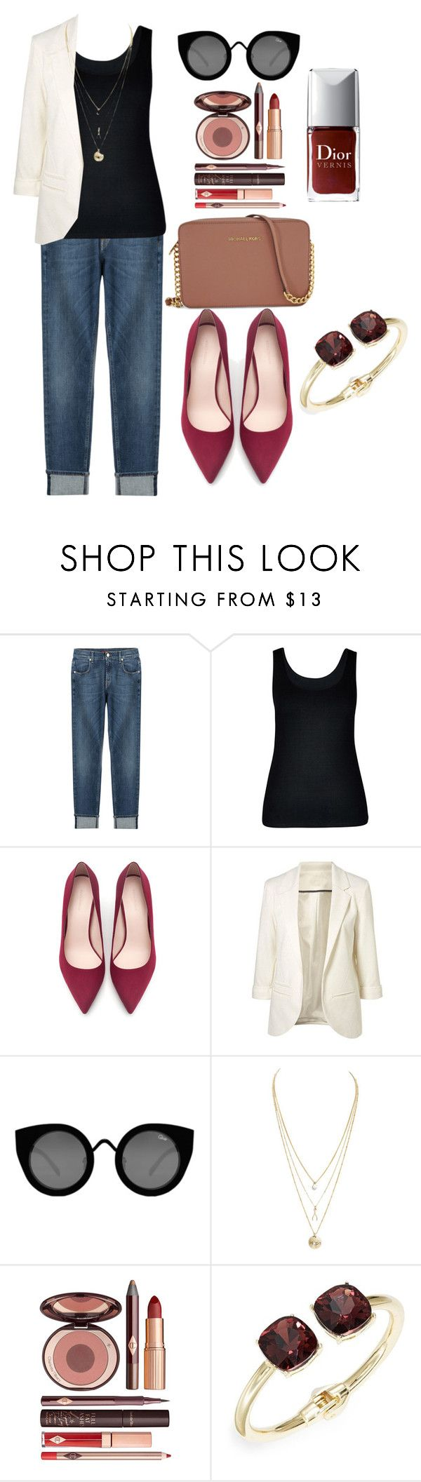 """""""friday Office look"""" by lizbeth-fuentes-rivera-ramirez ❤ liked on Polyvore featuring 7 For All Mankind, City Chic, Zara, Quay, Charlotte Tilbury, Cara and Michael Kors"""