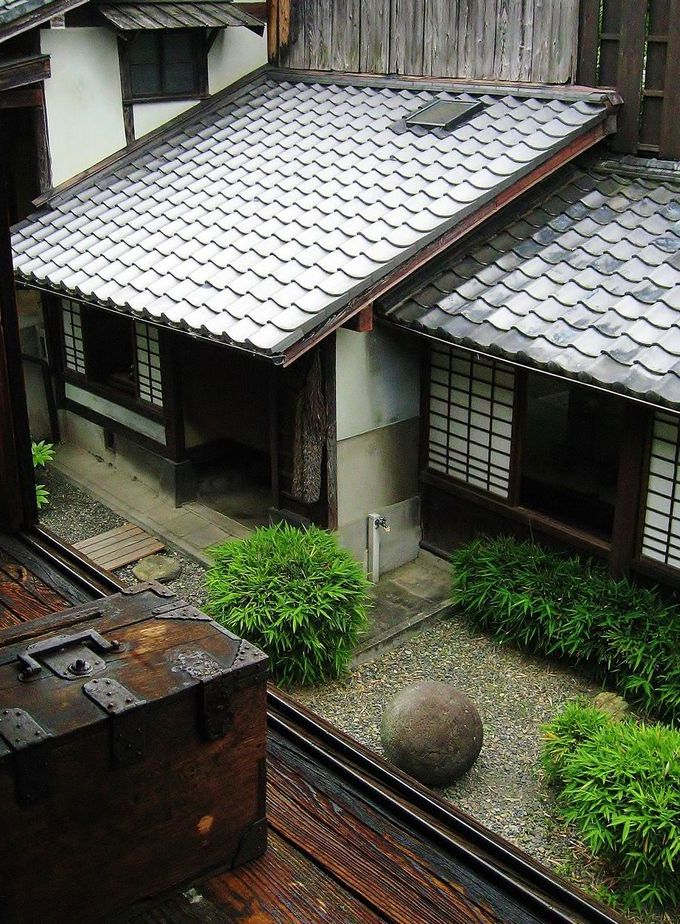 Beautiful Japanese garden view with a money/writing box.