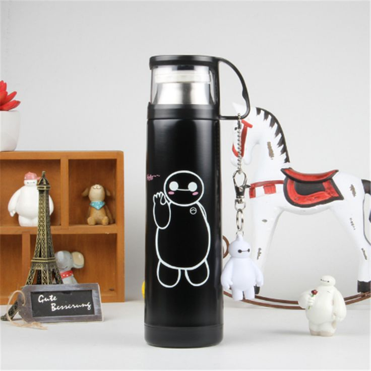 4 Color Big Hero Stainless Steel Handgrip Thermos Mug Garrafa Termica Belly Cup Termos Vacuum Flasks with keychain Water Bottle