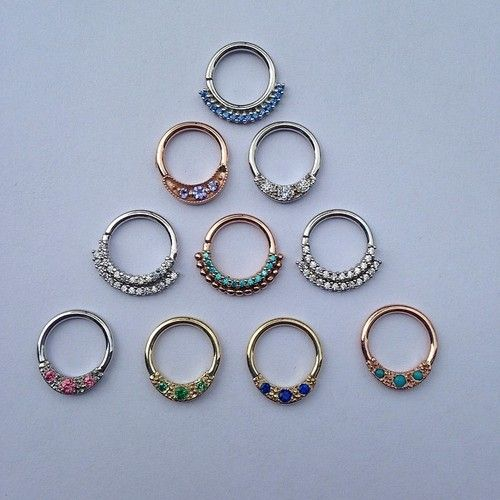 Septum rings: white, yellow and rose gold with an array of sparkles and natural stones... There is something for everyone!