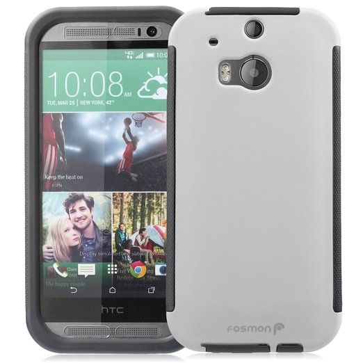 Fosmon® HTC One M8 Case (HYBO-SNAP) Full-Body Hybrid Protective Case Cover with Built-In Screen Protector for All New HTC One M(8) 2014 - Fo...
