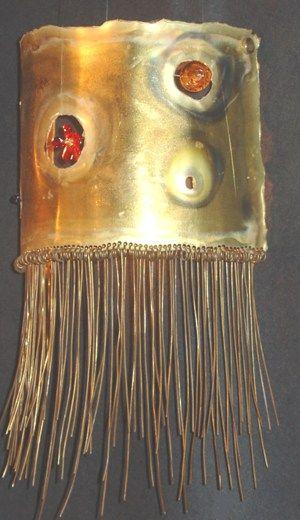 Handmade wall lamp made of bronze, brass wires and handmade glass beads.