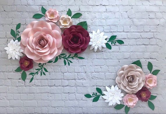 Set Of 12 Paper Flowers Nursery Wall Decor Paper Flower Image 6