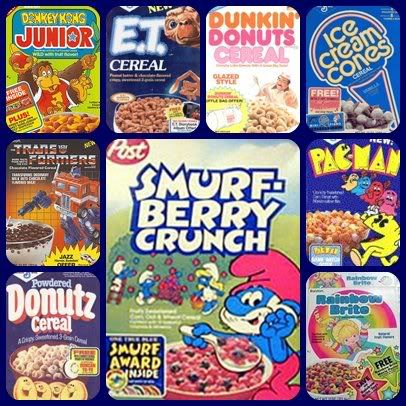 80's Cereal, the golden age...cartoon/movie tie ins, gimmicks and lots of shapely, sugary corn puff goodness that would turn your leftover milk into a murky, radioactive blue or red tasty goop, lol!