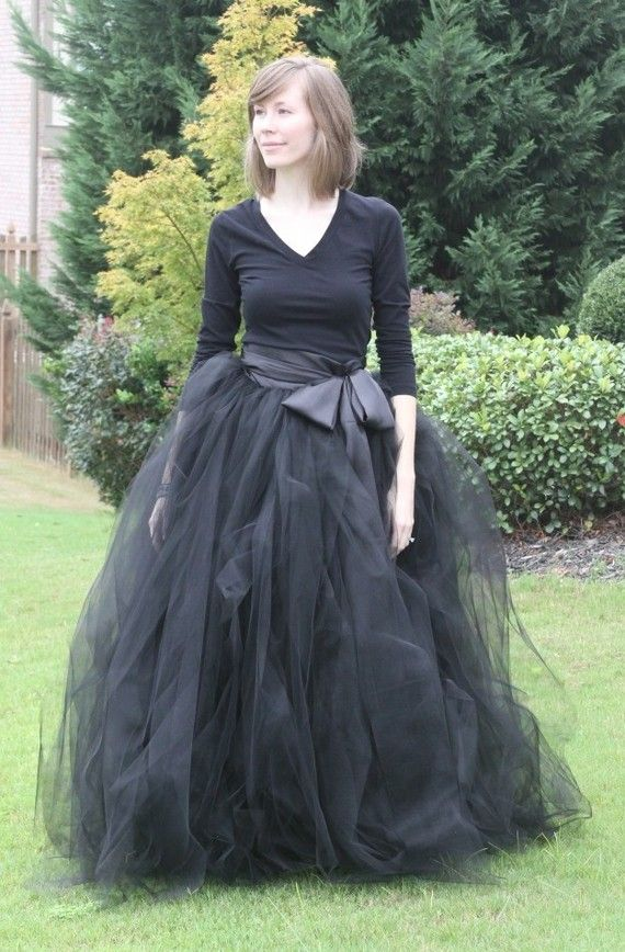 Black adult tutu long black skirt sewn tutus Wide by MirelaOlariu
