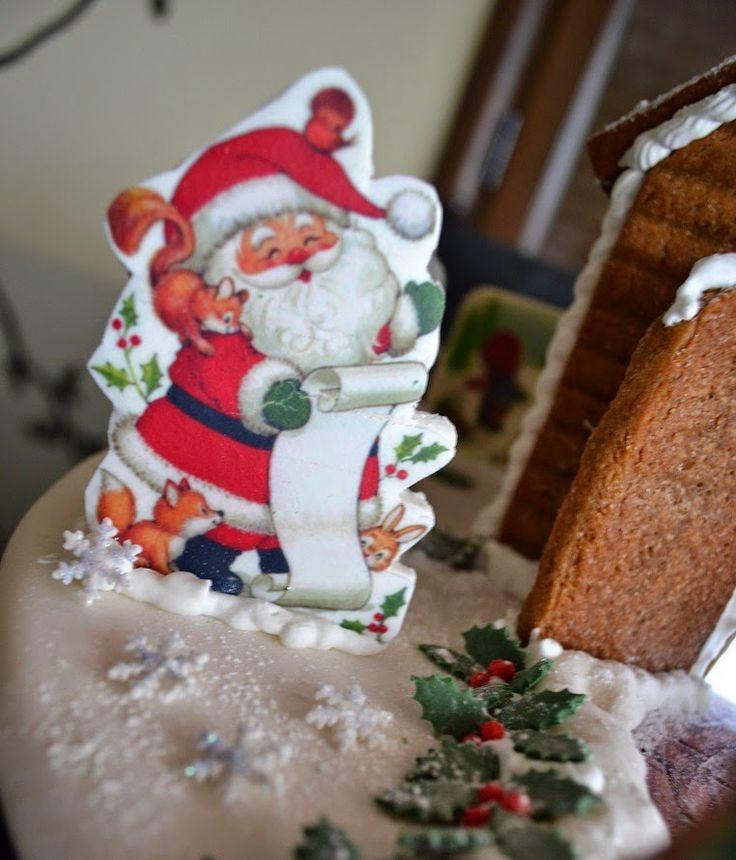 FotoPastel: Casita de Papa Noel 2014 (de galleta de jengibre, decorada con papel de azucar, fondant, glasa)