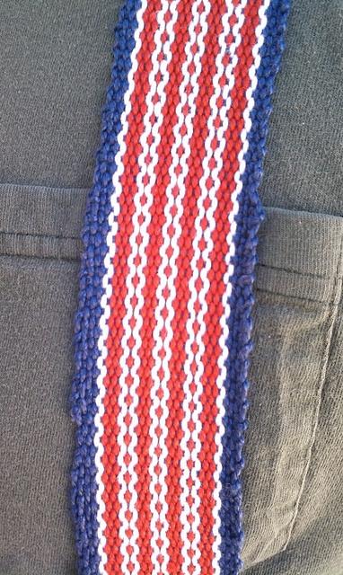 Woven suspenders on an inkle loom.