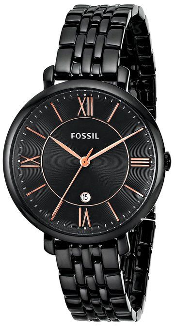 Fossil Women's ES3614 Jacqueline Three-Hand Date Stainless Steel Watch - Black