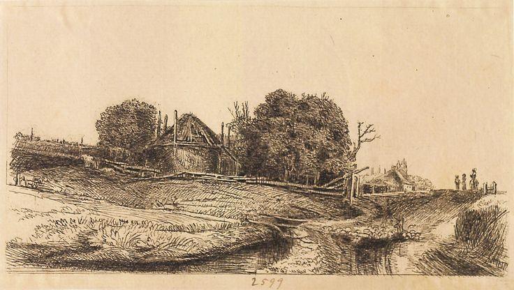 """Peisaj cu hambar și turmă de oi, 1789-1797 (după Rembrandt). Imagine din colecțiile Bibliotecii """"V.A. Urechia"""" Galați."""
