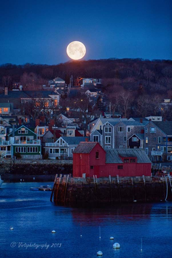 Moonset over Rockports, New England....  These villages on the New England coast are so quaint and like a postcard.