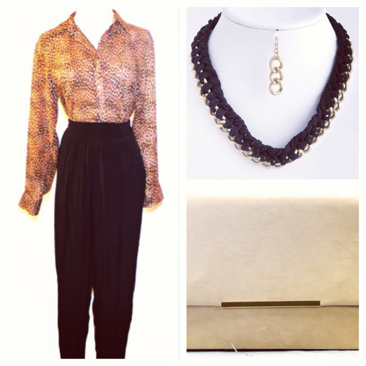 leopard and black vintage outfit