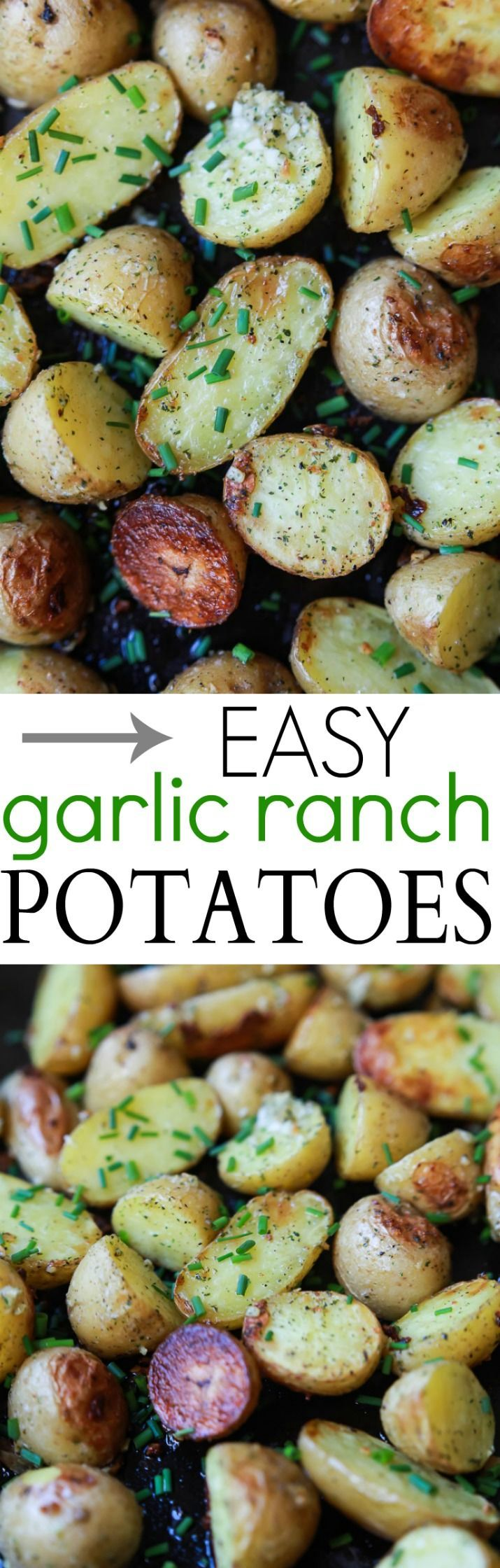 Easy Garlic Ranch Potatoes, a simple flavorful side dish that will become a staple recipe in your house! You're only 5 ingredients and 25 minutes away from potato heaven!   #glutenfree: