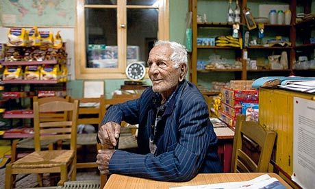 Gregoris Tsahas, 100, has smoked 20 cigarettes a day for 70 years. Photograph: Eirini Vourloumis for the Guardian