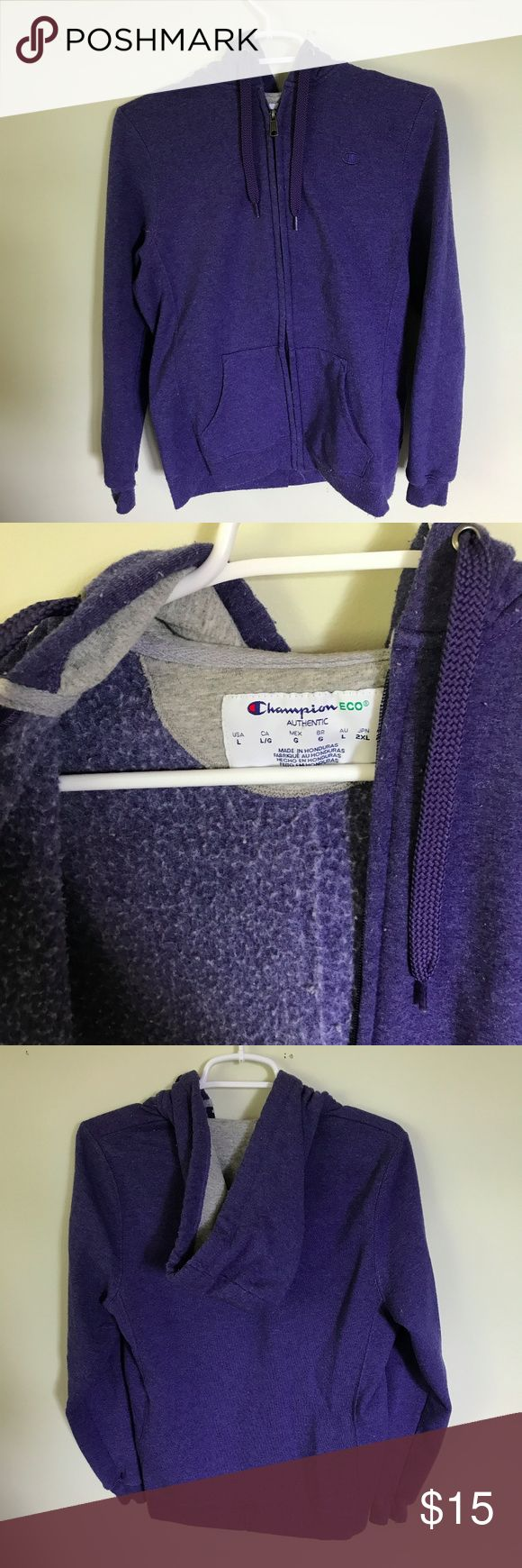 Champion Logo Purple Zip Up Hoodie Champion Logo Sweatshirt Used condition, there is wearing and pilling in the lining and minimal on the outer surface Size large Champion Sweaters