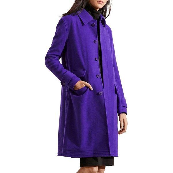 Lauren Ralph Lauren Petite Merino Wool Blend Coat ($398) ❤ liked on Polyvore featuring outerwear, coats, petite, purple, lauren ralph lauren coats, purple coat, lauren ralph lauren, oversized coat and long sleeve coat