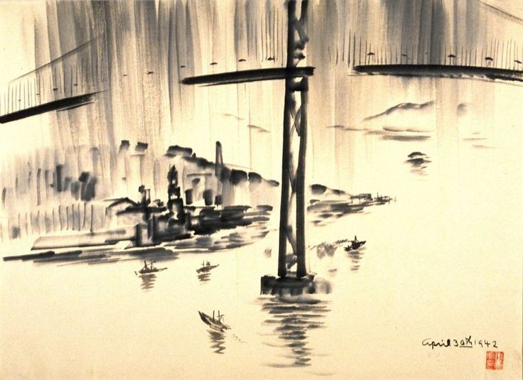 Farewell Picture of the [San Francisco] Bay Bridge by Chiura Obata, April 30, 1942, sumi ink on paper