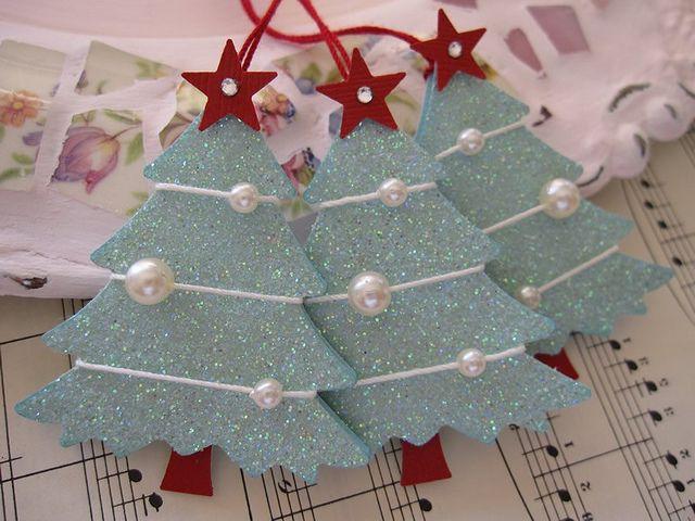 Blue Glittery Christmas Trees