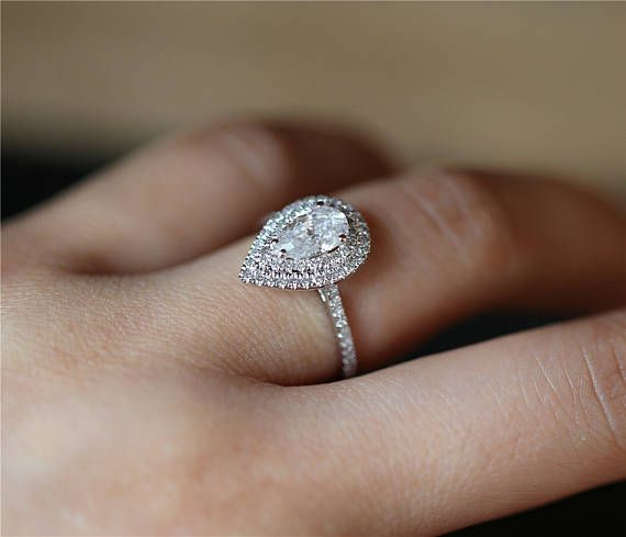 Double Halo Ring 58mm Pear Forever One Moissanite Engagement