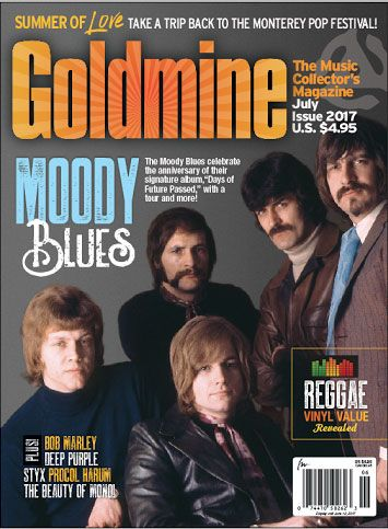 """July 2017 issue covers the anniversary of Moody Blues' """"Days of Future Passed"""" on http://www.goldminemag.com"""