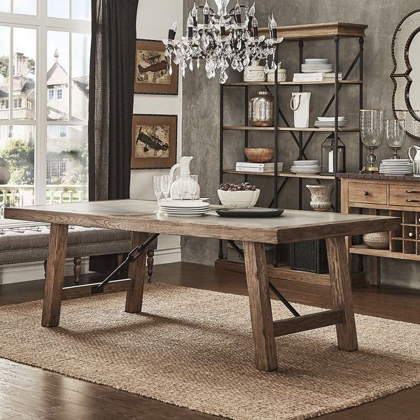 Redesign your dining space with this outstanding oak reinforced concrete dining set. This rectangular table provides a durable and sturdy construction. The reinforced concrete table top and metal turn