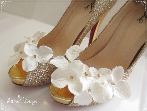 Bridal Shoe Clip Ivory Wedding Shoes Flower Shoe by SelinishDesign