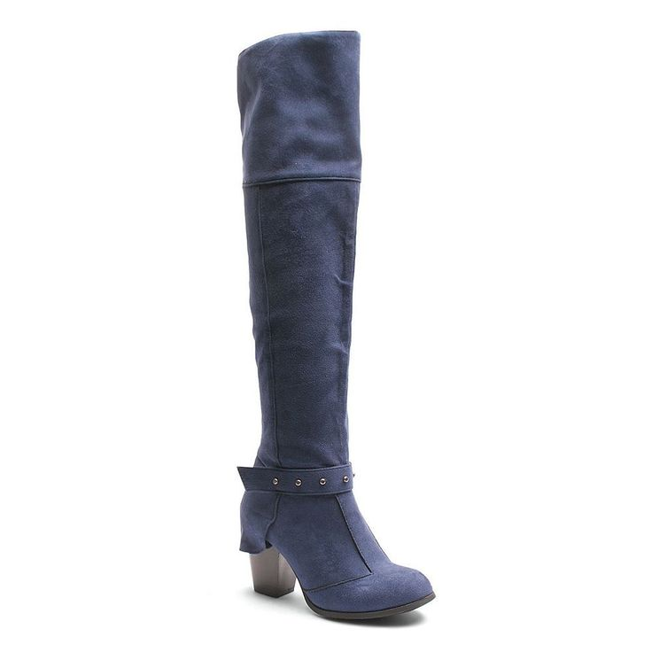 Kisses by 2 Lips Too Too Lunar Women's Over-The-Knee Boots, Size: medium (10), Dark Blue