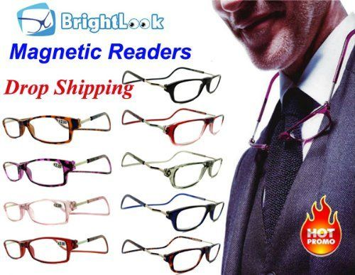 Clic -on/Clic -of +3.00 MAGNETIC ADJUSTABLE Reading Glasses WHOLESALE .... $25.00. BLACK COLOR; Hang easily and comfortable around your neck so you never misplace. Lose or damage your readers Unisex Folding Reading Glasses  Adjustable temple  Plastic frame & copper temple Magnet inserted in the bridge