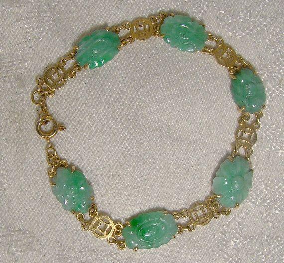 18K Carved Jade Jadeite Bracelet  1920s by FionaKennyAntiques