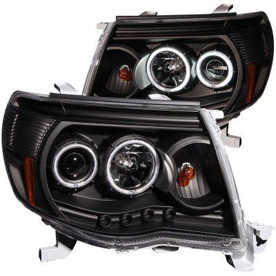 2011 Toyota Tacoma Black Projector Headlights CCFL Halo LED