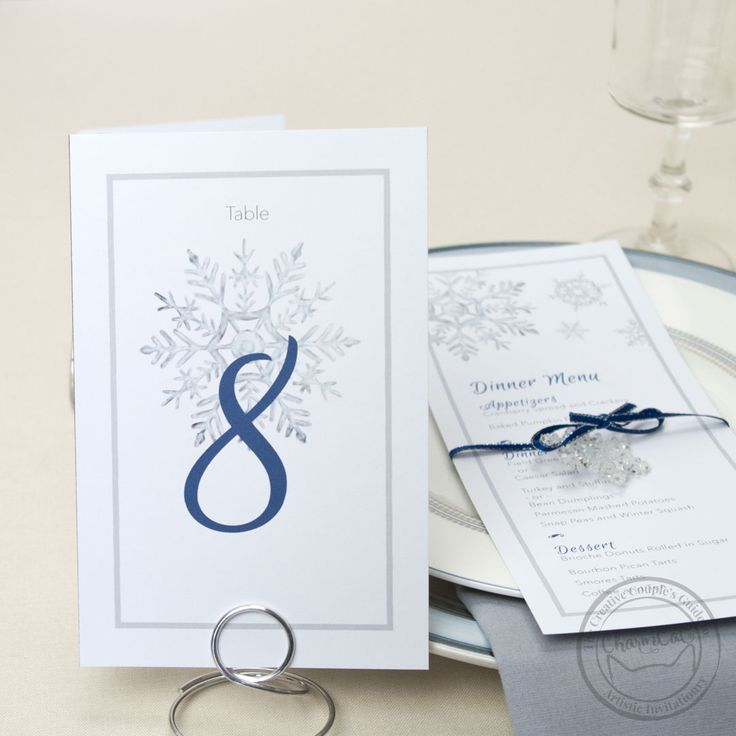 Incorporate winter into your wedding in a classic way with the Snowflake suite. Matching place cards, table numbers, menus, and more!