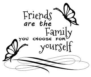 Friends are family word art digi stamp freebie